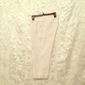Adorable white Capris with embellished cuffs.
